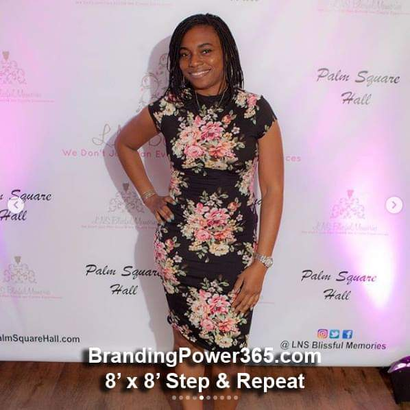 8' x 8' Step and Repeat Backdrop for LNS Blissful Memories, Palm Square Hall Events - BrandingPower365.com
