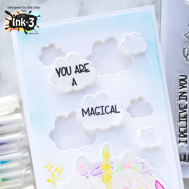 Magical Unicorn Card for Ink On 3 by ilovedoingallthingscrafty.com