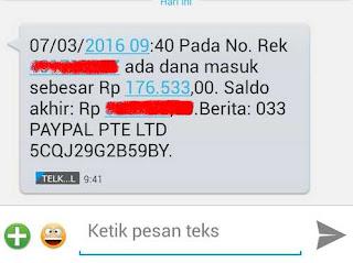 SMS BANKING terima dana dari paypal