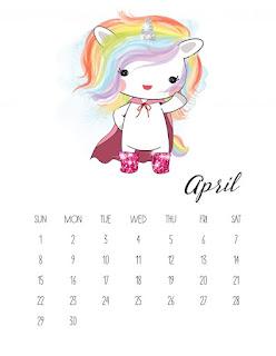 Calendario 2018 de Unicornios para Imprimir Gratis.