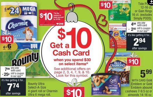 CVS Cash Card Charmin, Bounty Deal - 11/3-11/9