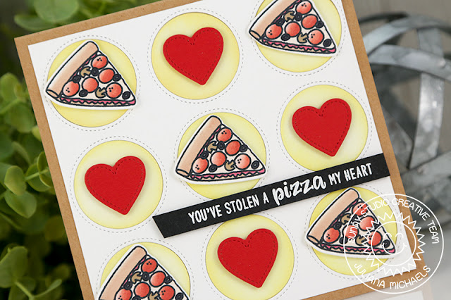 Sunny Studio Stamps: Fast Food Fun Window Trio Circle Grid Pizza Themed Card by Juliana Michaels