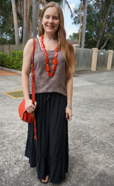 animal print tank, tiered black maxi skirt red saddle bag and necklace mum style | away from blue