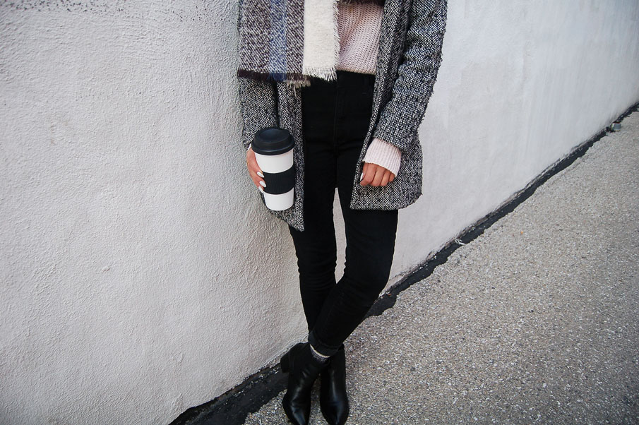 Gray Coat Black Jeans Boots
