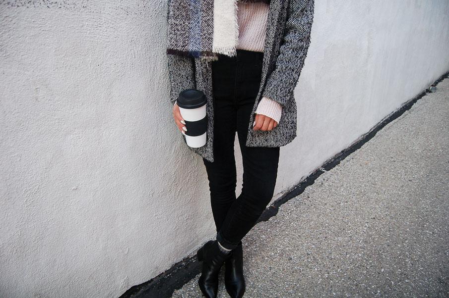 Gray Coat Black Jeans Boots