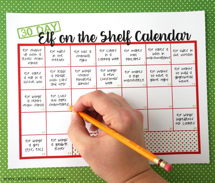 Free Printable 30 Day Elf on the Shelf Calendar to plan your elf activities!