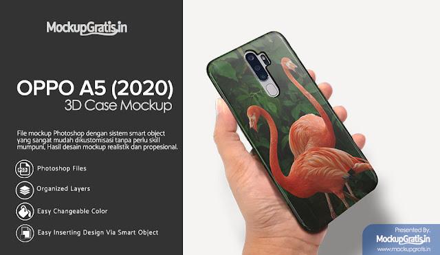 PSD Mockup Custom Case 3D OPPO A5 (2020) Gratis