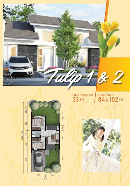 Desain Fasad dan Denah Rumah Tulip 1 & 2 Citra Indah City