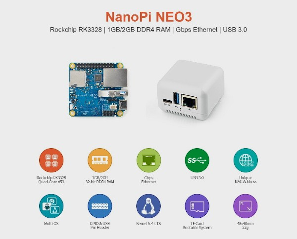 NanoPi NEO3, a complete computer in a 4.8 cm chassis
