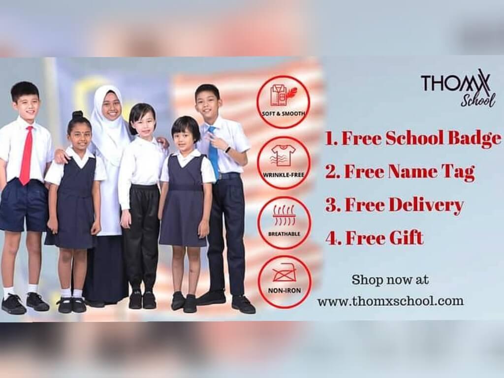 ThomX School - Baju Seragam Sekolah Anti Kedut Yang Selesa dan Tahan Lama