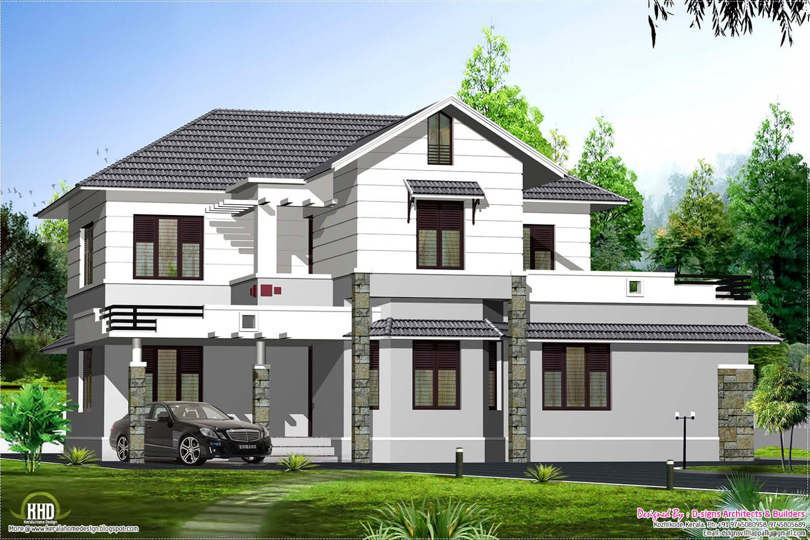Kerala style sloping roof villa design kerala home for Colonial style home design in kerala