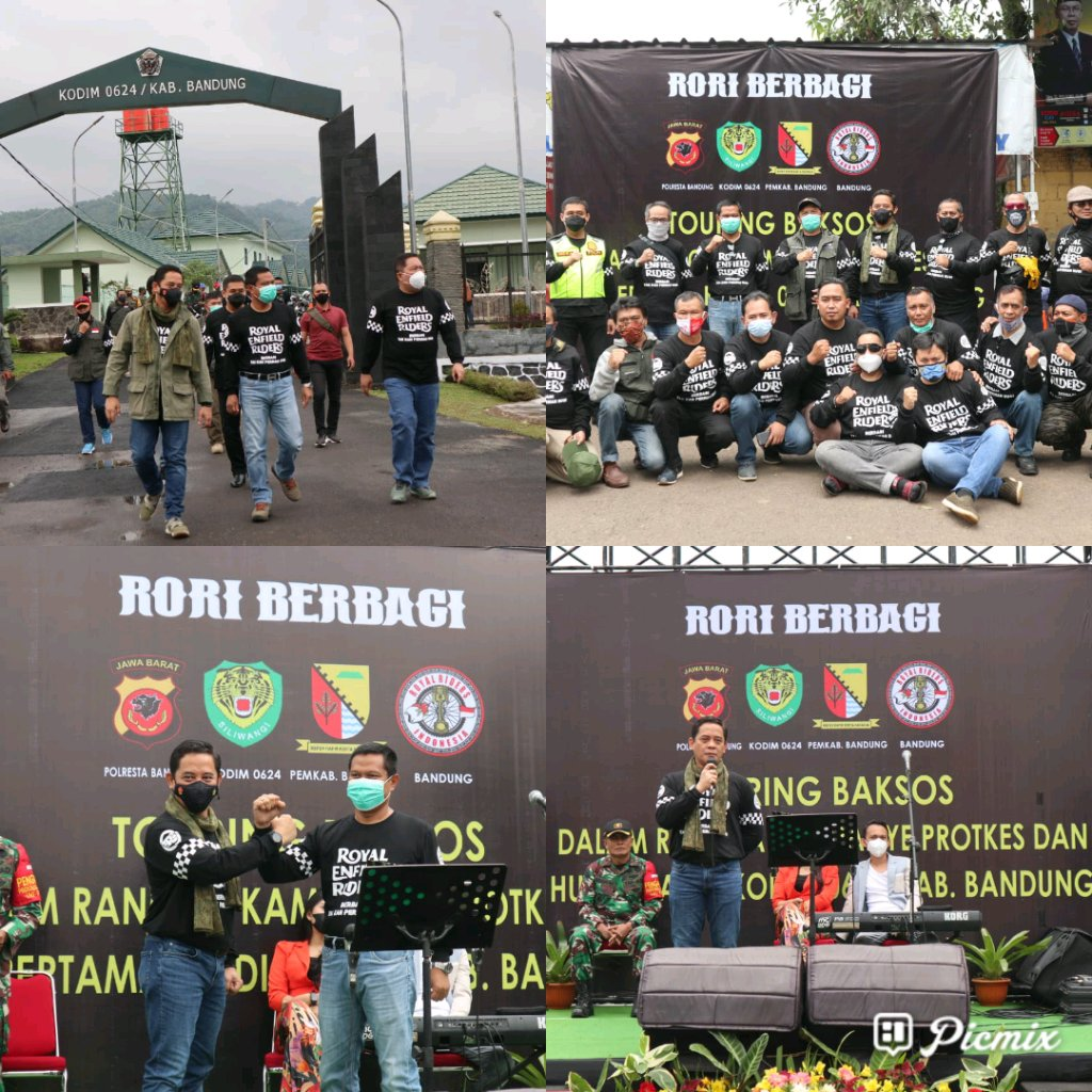 Dalam Rangka HUT Pertama Kodim 0624/Kab Bandung  Laksanakan Touring Baksos dan Kampanye Protokol Kesehatan