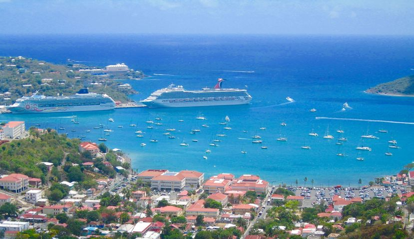 Cruise ships docked in bay