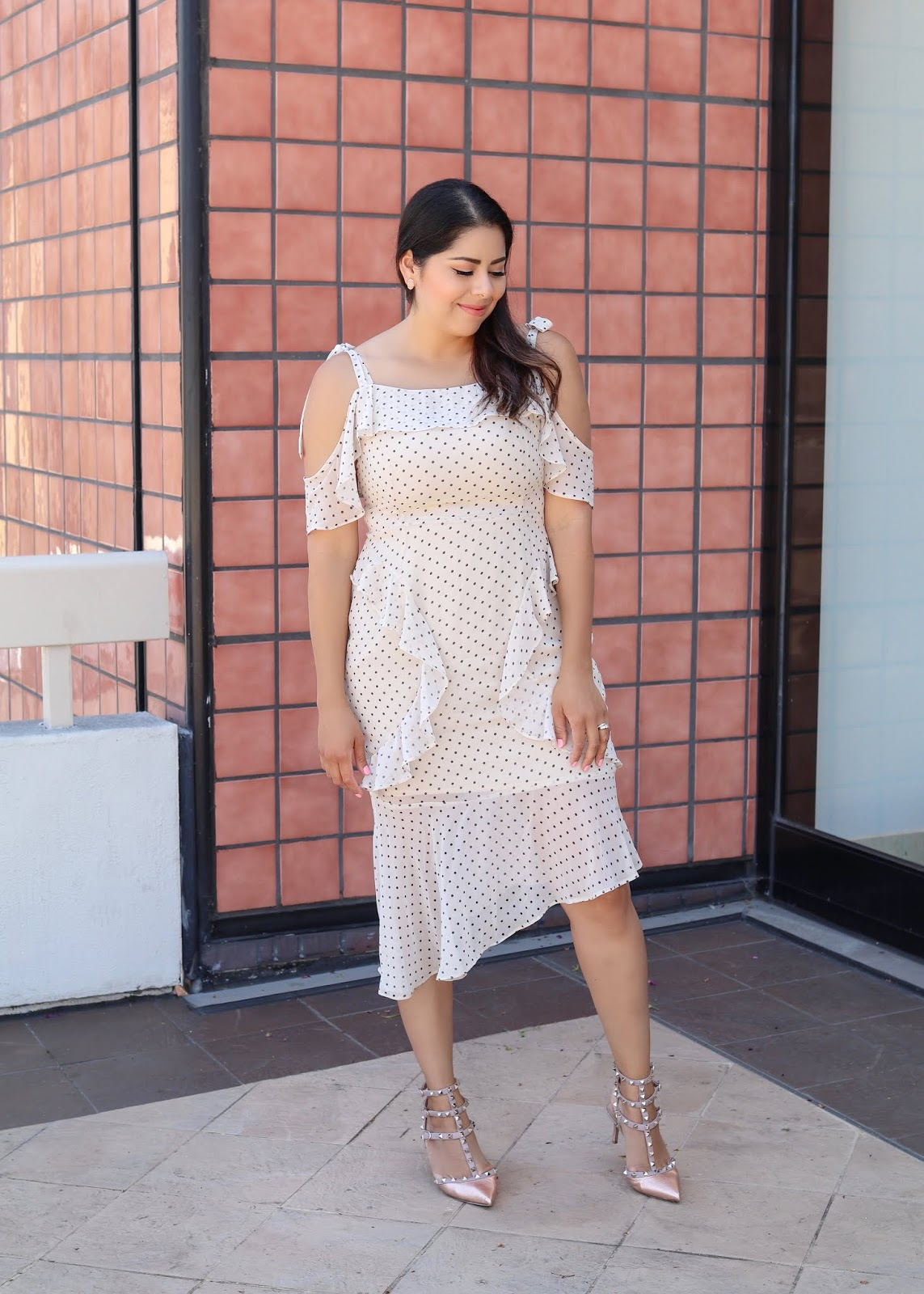 Polka Dot and ruffled dress, polka dot trend 2018, san diego fashion