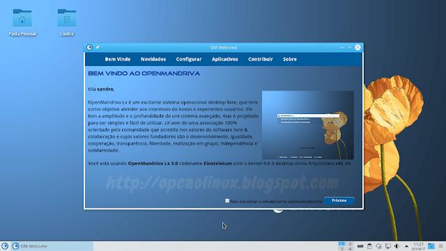Área de Trabalho do OpenMandriva Lx 3.0