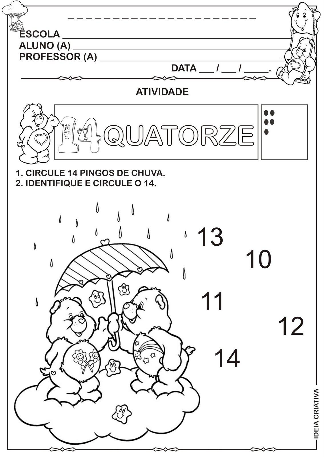Atividade Numerais 10111213 E 14 Ursinhos Carinhosos Pra Colorir