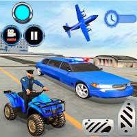 US Police limousine Car Quad Bike Transporter Game for Android