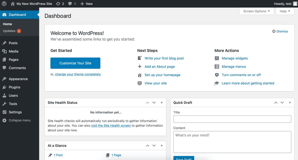 WordPress Admin Panel Screenshot