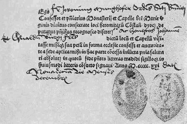 Συγχωροχάρτι του 1521.