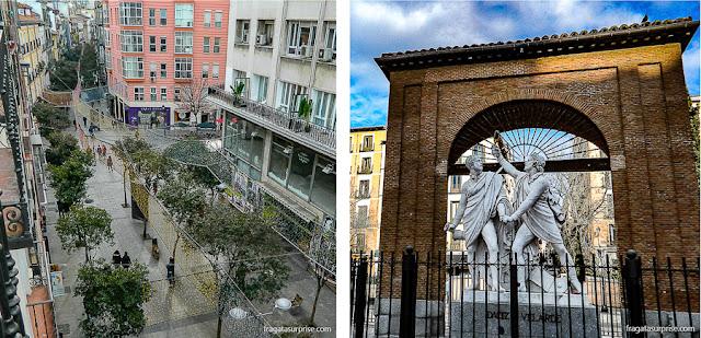 Calle Fuencarral, em Chueca, o monumento do Dois de Maio, em Malasaña