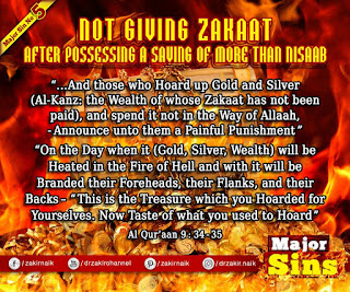 MAJOR SIN. 5.2. NOT GIVING ZAKAAT: After Possessing a Saving of more than Nisaab | Kabira Gunah