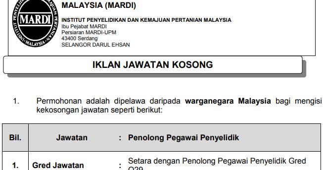 Jawatan Kosong Di Institut Penyelidikan Dan Kemajuan Pertanian Malaysia Mardi Tarikh Tutup 16 Januari 2020 Jawatan Kosong Kerajaan 2020 Terkini