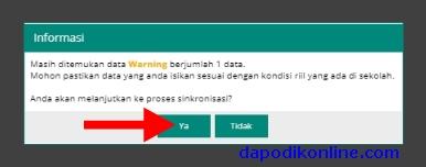 Klik ya walaupun Masih ditemukan data Warning berjumlah ... data