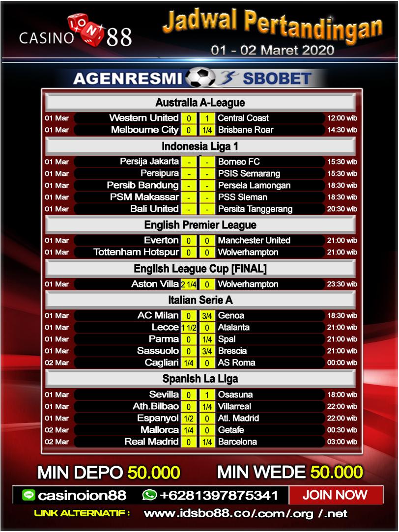 Jadwal Pertandingan Sepak Bola 01 - 02 Maret 2020 ...