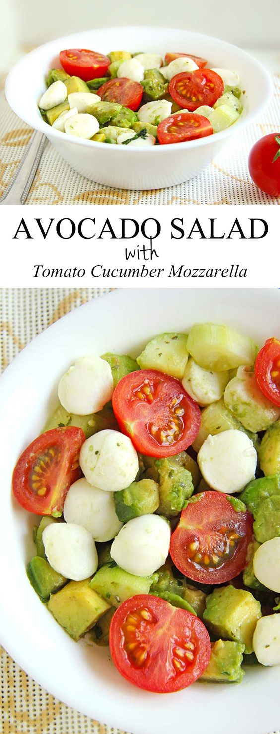 ★★★★☆ 5666 ratings     | Avocado Salad with Tomato Cucumber Mozzarella #Avocado #Salad #Tomato #Cucumber #Mozzarella