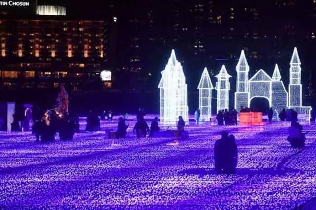 festival cahaya di Pantai Haeundae, Busan