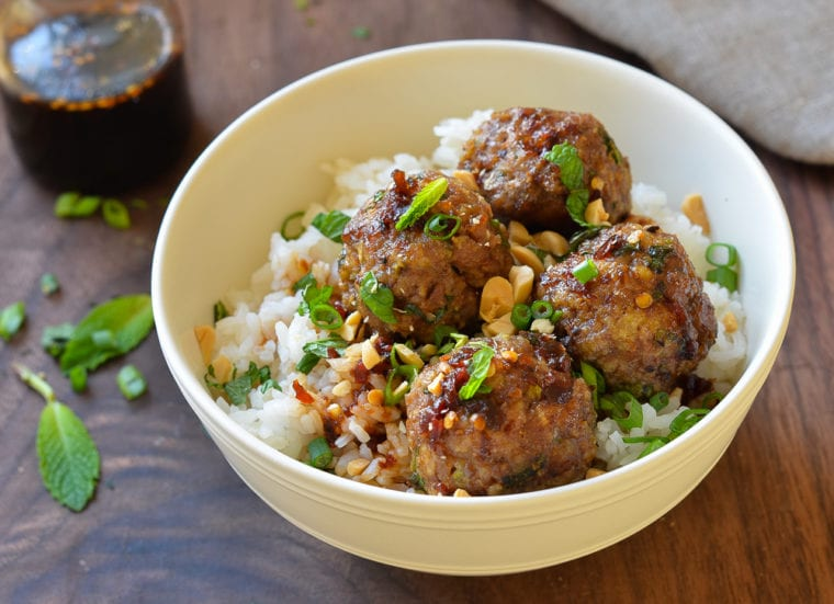"Vietnamese-Style Meatballs with Chili Sauce - Vietnamese-Style Meatballs with Chili Sauce - also known as ""flavor bombs"". For a quick weeknight supper, wrap the meatballs in lettuce cups or serve them over rice. For an appetizer, arrange the meatballs on a platter and spear with them with toothpicks."