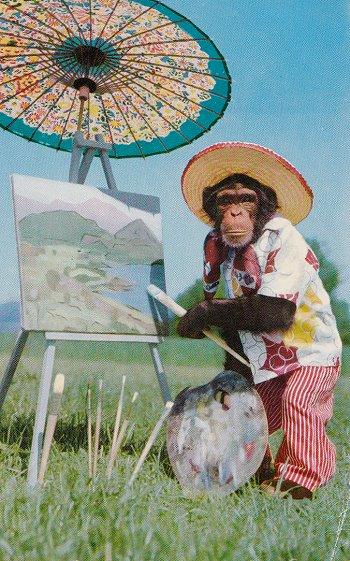 Postcard, artwork, monkey, primate,