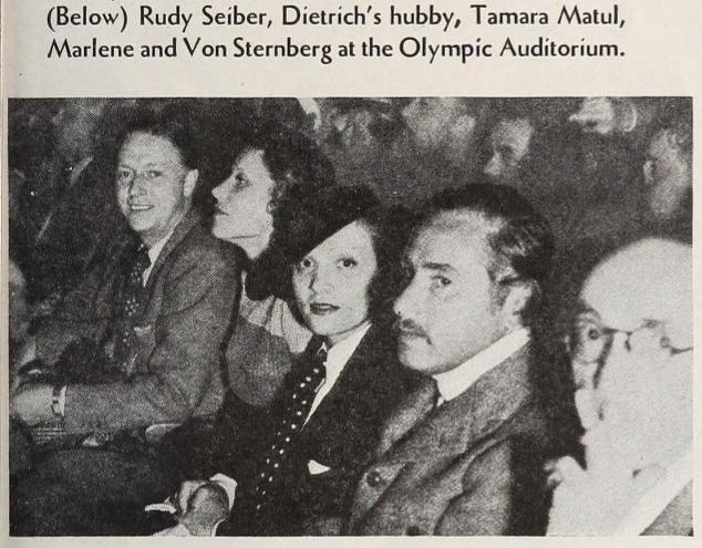 Marlene Dietrich, Josef von Sternberg, Rudolf Sieber, Tamara Matul at Olympic Auditorium, Los Angeles, 1934