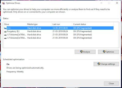 Windows 10 Dragament and Optimization Setting