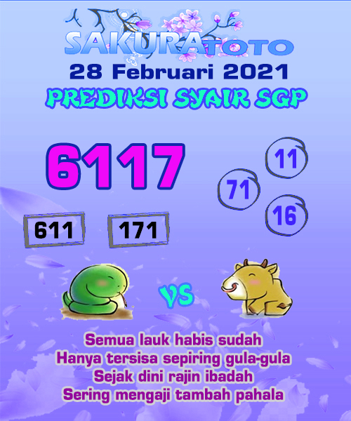 Syair SGP Minggu 28 Februari 2021 -
