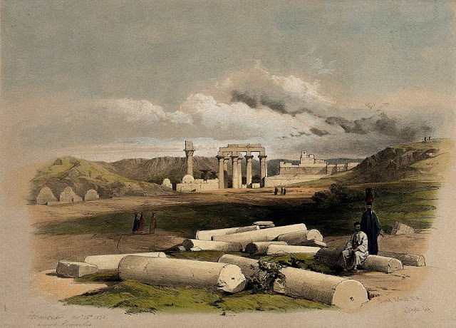 Ruins of Erment, ancient Hermontis, Egypt. Coloured lithogra