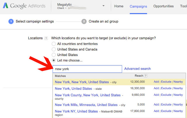 google geographic targeting