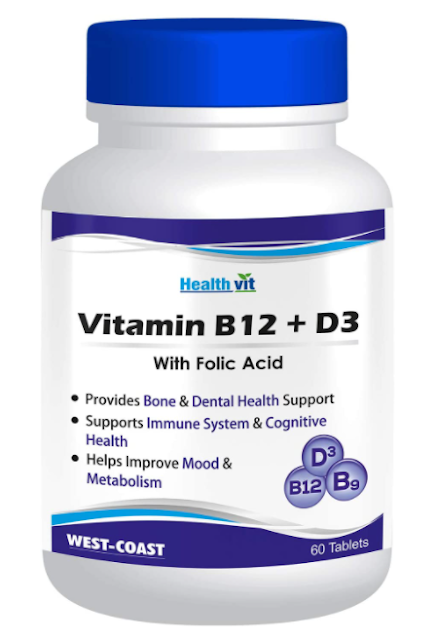 Healthvit Vitamin B12 + D3 with Folic Acid – 60 Tablets