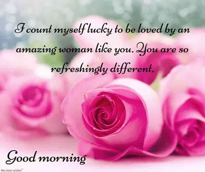 best good morning text for her with pink roses