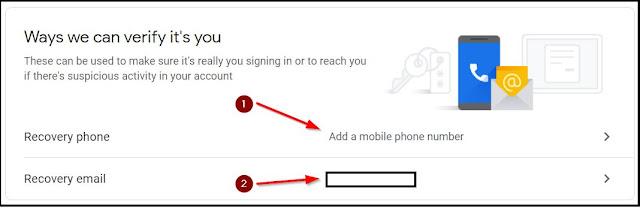 tambahkan email dan nomor hp untuk mengembalikan akun