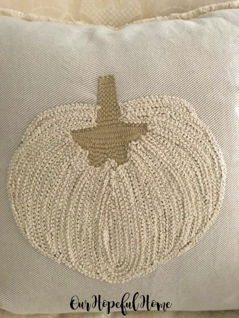 thrifted embroidered pumpkin pillow