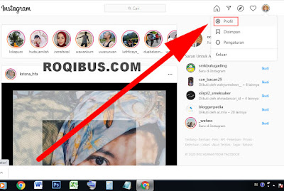 Cara menyalin link akun instagram sediri di komputer.