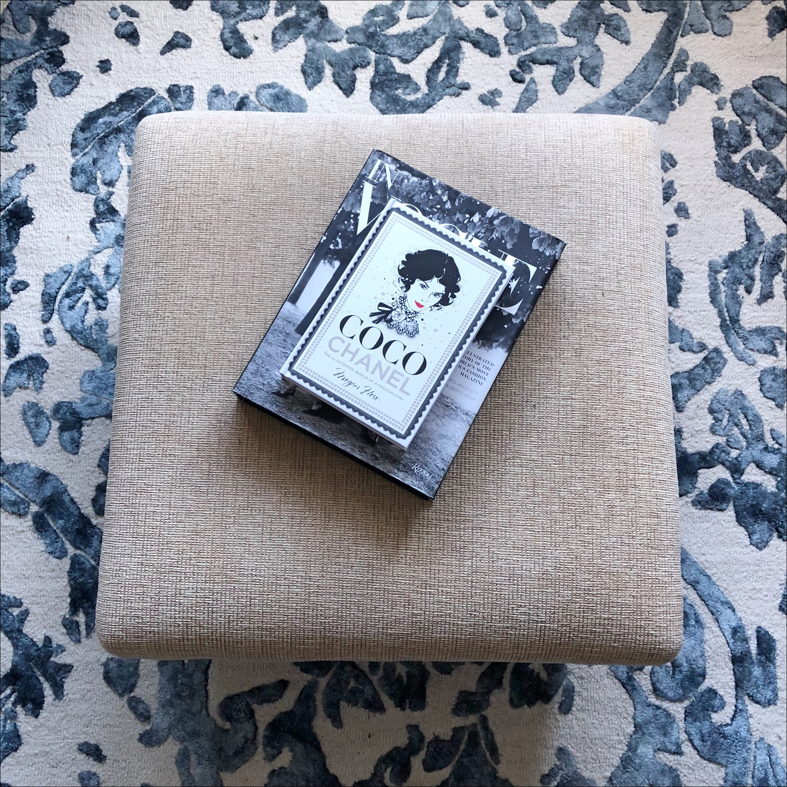my midlife fashion, marks and spencer watercolour damask rug