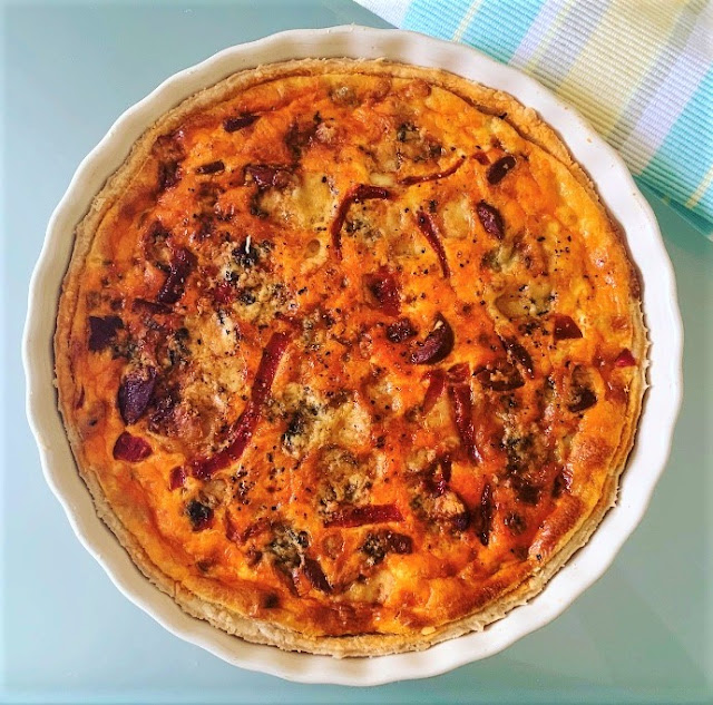 Chorizo, Red Pepper & Stilton Quiche