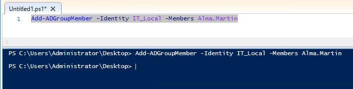 مثال 1: إضافة مستخدم واحد إلى مجموعة باستخدام PowerShell