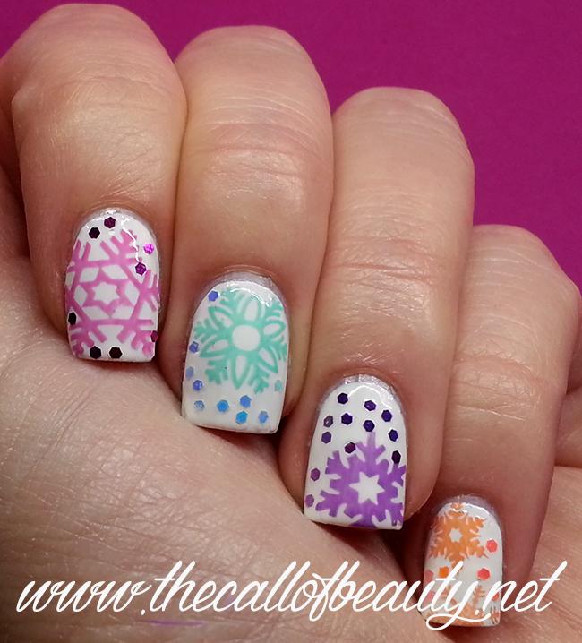 Pastel Snowflakes Nail Art