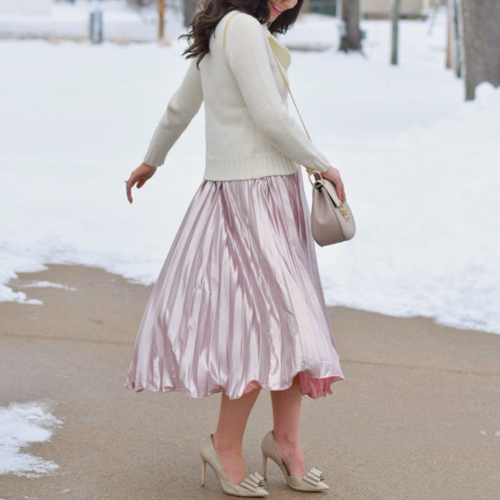 Rose Gold Pleats with White Blazer for Valentine's Outfit
