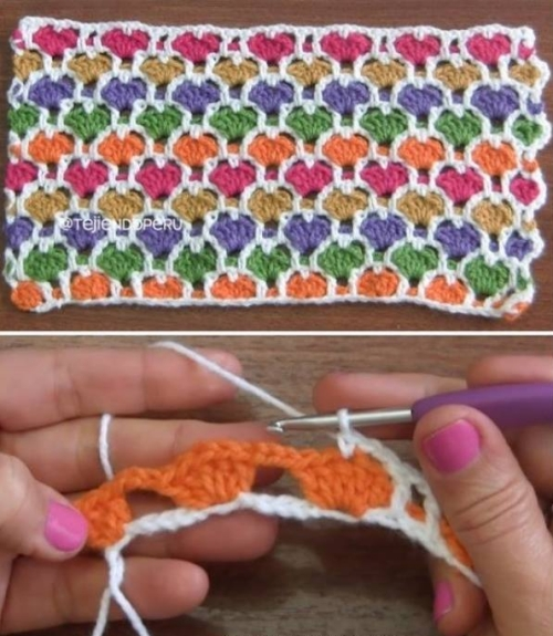 Reversible Moroccan Hearts Stitch - Free Pattern