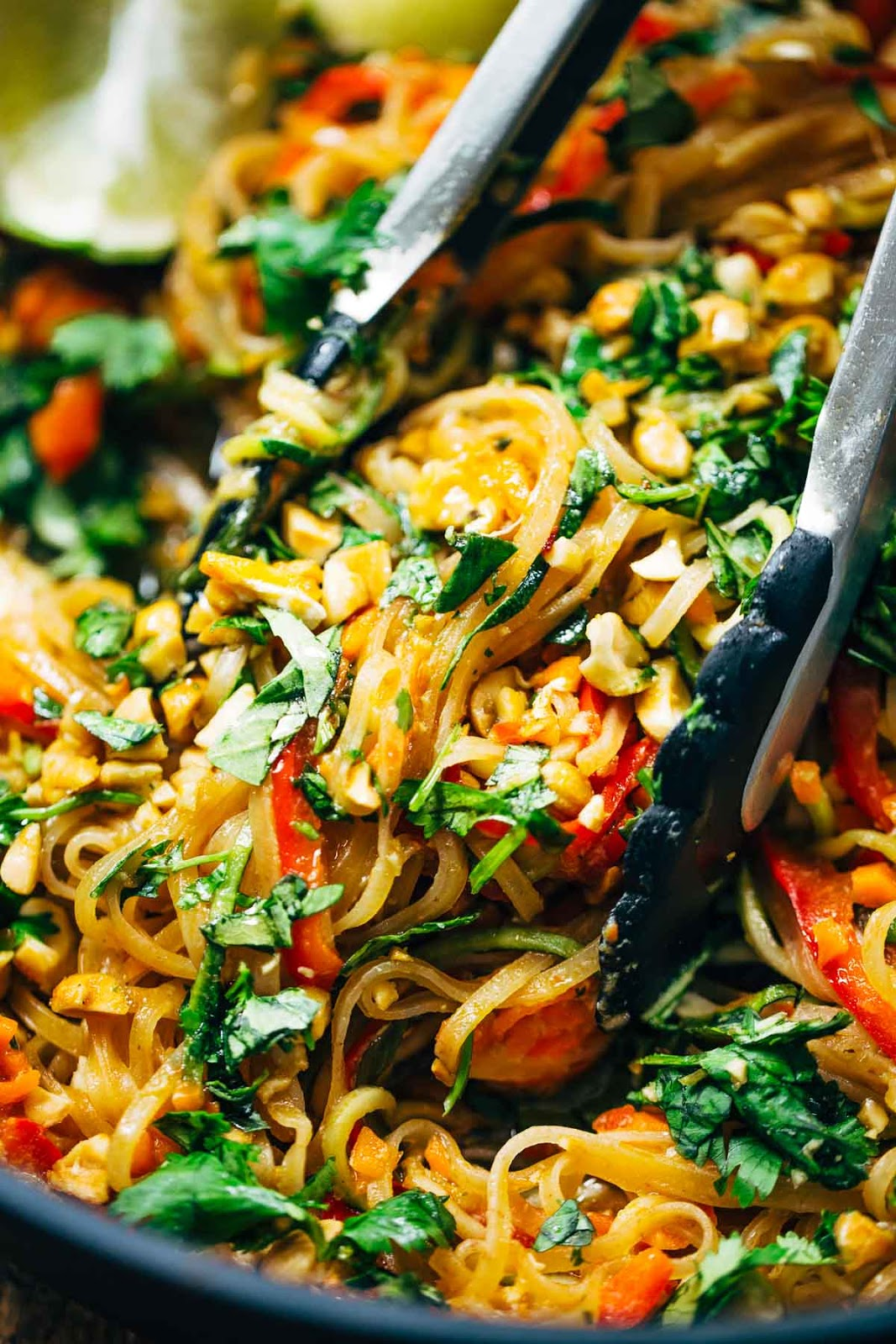Rainbow Vegetarian Pad Thai with Peanuts and Basil #vegetarian #vegan #dinner #noodle #salad