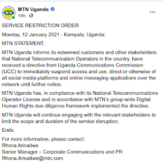 MTN Uganda Internet Shutdown elections 2021